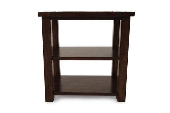 Square Contemporary Chairside Table in Medium Brown
