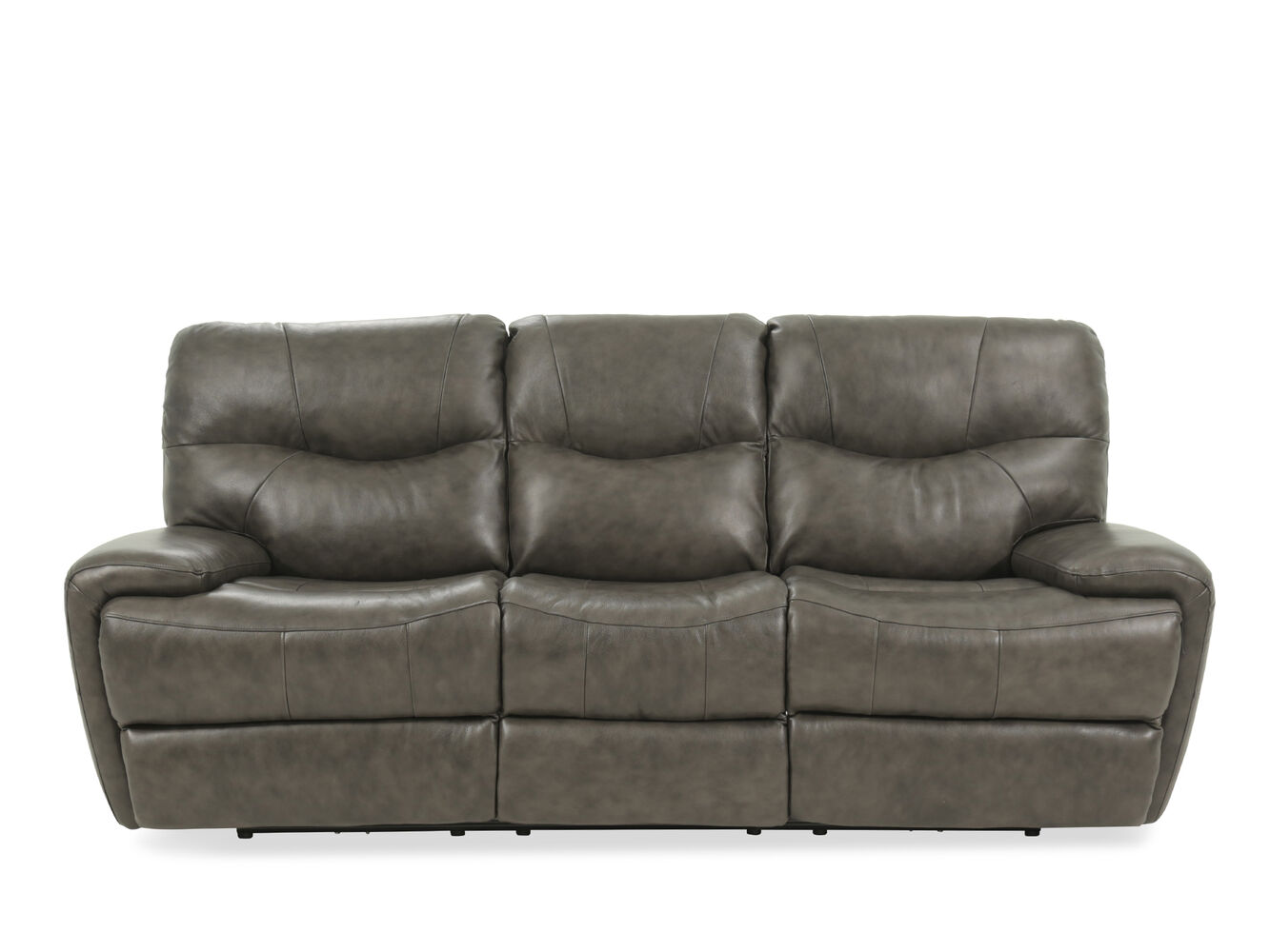 leather 92 power reclining sofa in gray mathis brothers furniture. Black Bedroom Furniture Sets. Home Design Ideas