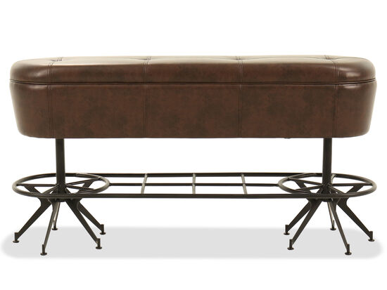 "Traditional 60"" Button-Tufted Bench in Brown"