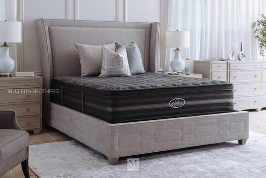 """66"""" Nailhead Accented Heathered Shelter Bed in Gray"""