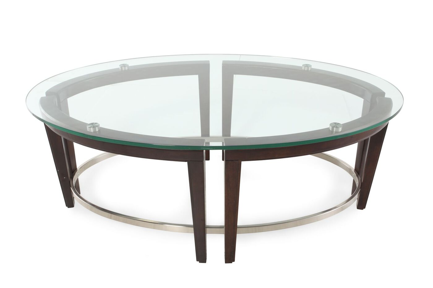 Glass top oval contemporary cocktail table in hazelnut for Cocktail table 47