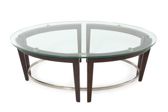 Glass top oval contemporary cocktail table in hazelnut Oval cocktail table living room furniture