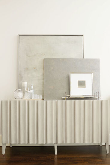 Four-Door Contemporary Entertainment Console in Cerused Linen