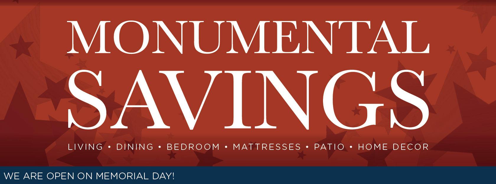 Memorial Day - Monumental Savings