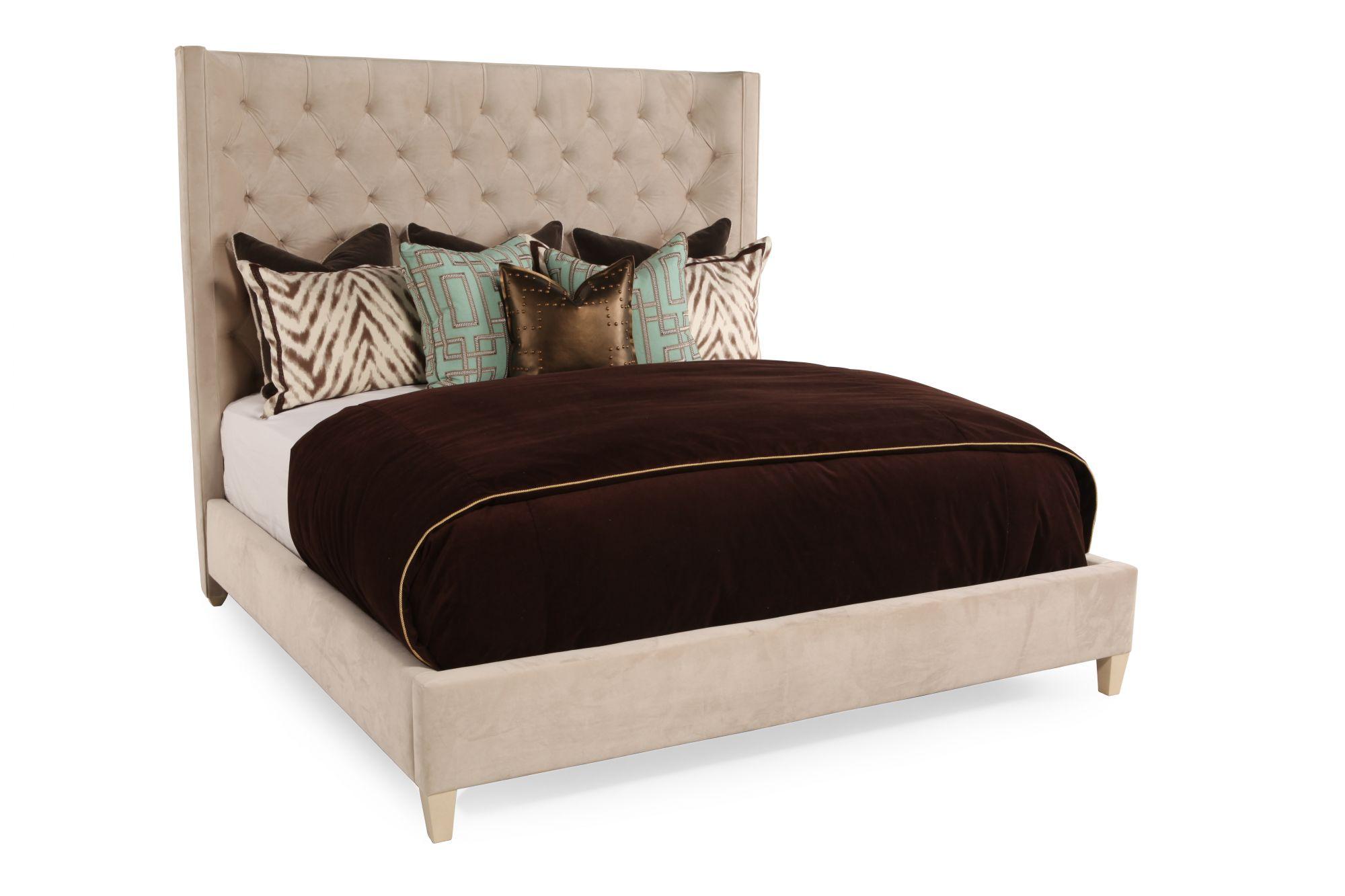 Bernhardt salon california king upholstered bed mathis for Bedroom furniture upholstered beds