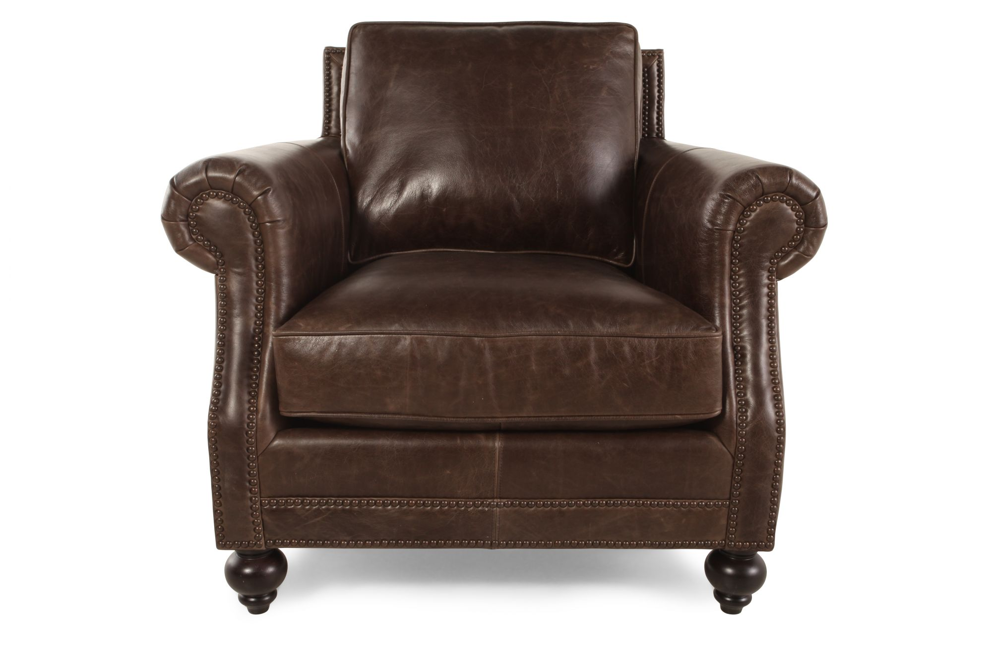 Bernhardt brae leather chair mathis brothers furniture Bernhardt living room furniture